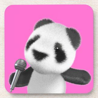 Cute 3d Panda Sings with a Mic (editable) Beverage Coaster