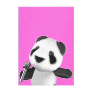 Cute 3d Panda Sings with a Mic (editable) Stretched Canvas Print