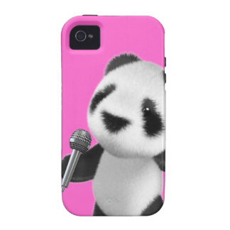 Cute 3d Panda Sings with a Mic (editable) iPhone 4/4S Cover