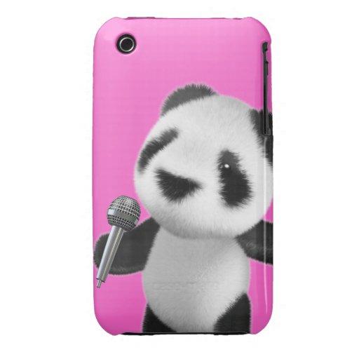 Cute 3d Panda Sings with a Mic (editable) iPhone 3 Case-Mate Case