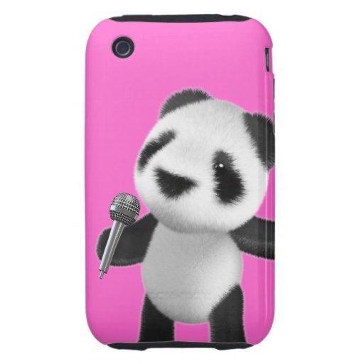 Cute 3d Panda Sings with a Mic (editable) Tough iPhone 3 Cover