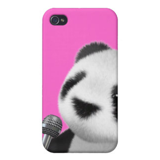 Cute 3d Panda Sings with a Mic (editable) Covers For iPhone 4