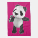 Cute 3d Panda Sings with a Mic (editable) Kitchen Towel