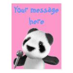 Cute 3d Panda Sings with a Mic (editable) Postcard
