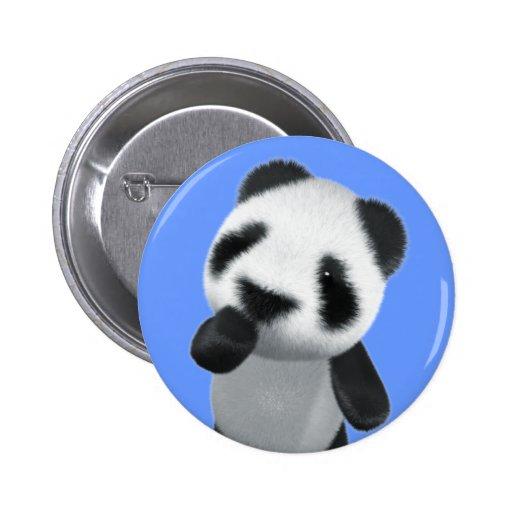 Cute 3d Panda Thinks (editable) 2 Inch Round Button