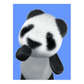 Cute 3d Panda Thinks (editable) Postcard