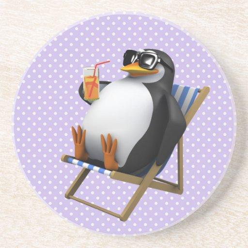 Cute 3d Penguin Deckchair Beverage Coasters
