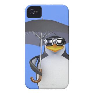 Cute 3d Penguin loves the rain (editable) iPhone 4 Cover