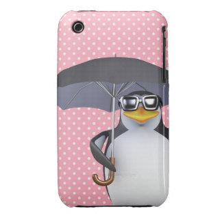 Cute 3d Penguin loves the rain (editable) iPhone 3 Cover
