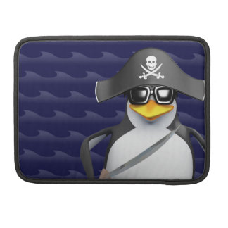 Cute 3d Penguin Pirate (editable) Sleeves For MacBook Pro
