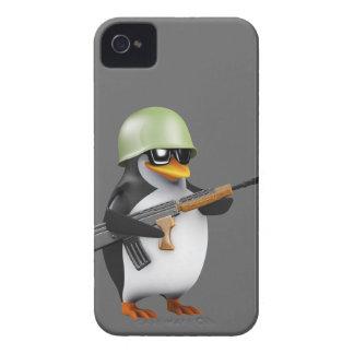 Cute 3d Penguin Soldier (editable) iPhone 4 Case