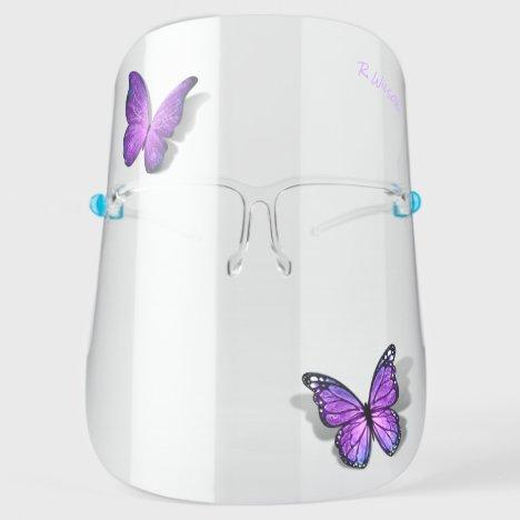Cute 3D Purple Butterflies Watercolor Monogram Face Shield