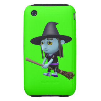 Cute 3d Witch Flying Broomstick (editable) iPhone 3 Tough Cases