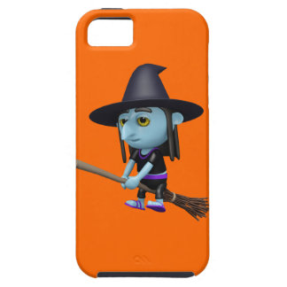 Cute 3d Witch Flying Broomstick (editable) iPhone 5 Covers