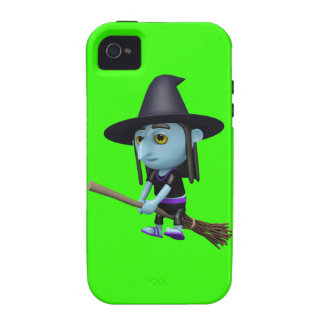 Cute 3d Witch Flying Broomstick (editable) iPhone 4/4S Cover