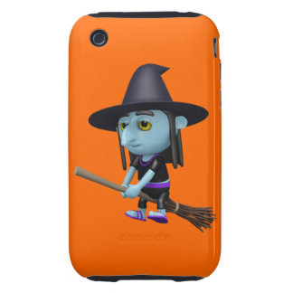 Cute 3d Witch Flying Broomstick (editable) iPhone 3 Tough Case