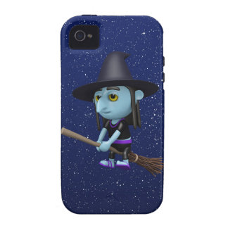 Cute 3d Witch Flying Broomstick (editable) iPhone 4/4S Case