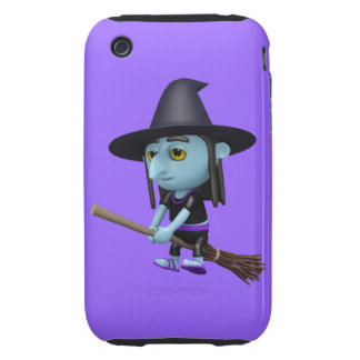 Cute 3d Witch Flying Broomstick (editable) iPhone 3 Tough Covers