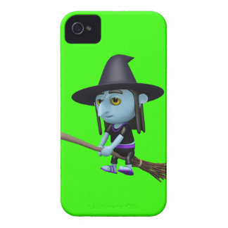 Cute 3d Witch Flying Broomstick (editable) iPhone 4 Case