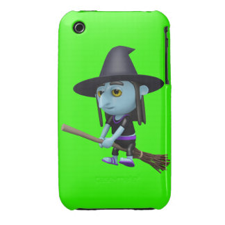 Cute 3d Witch Flying Broomstick (editable) iPhone 3 Case-Mate Case
