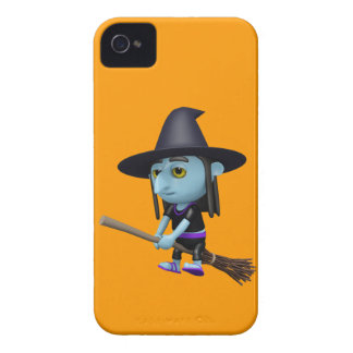 Cute 3d Witch Flying Broomstick (editable) iPhone 4 Case-Mate Cases