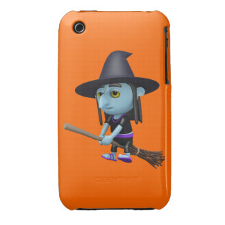 Cute 3d Witch Flying Broomstick (editable) iPhone 3 Covers