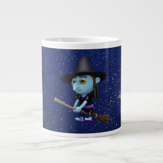 Cute 3d Witch Flying Broomstick (editable) Giant Coffee Mug