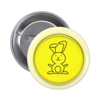 Cute 3D Yellow Bunny Cartoon Button