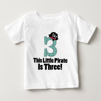 Cute 3rd Birthday Pirate Baby T-Shirt