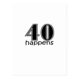 """Cute, """"40 Happens"""" Postcard"""