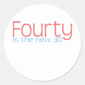 "Cute, ""40 is the new 30"" design round sticker"
