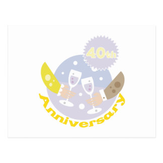 "Cute, ""40th Anniversary"" Champagne Toast Postcard"