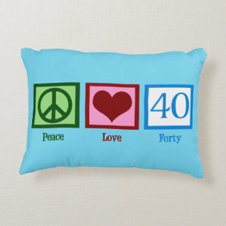 Cute 40th Birthday (Peace Love) Accent Pillow