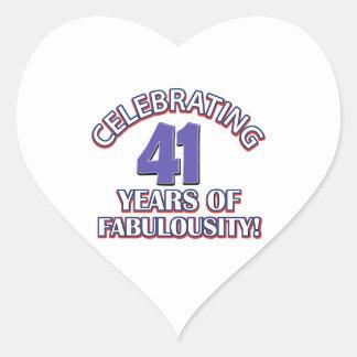 cute 41 year old design heart sticker