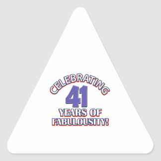 cute 41 year old design triangle sticker