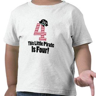 Cute 4th Birthday Pirate Themed Tshirt