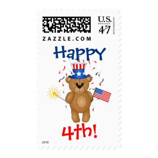 Cute 4th July Teddy Bear in Red, White and Blue Postage Stamp