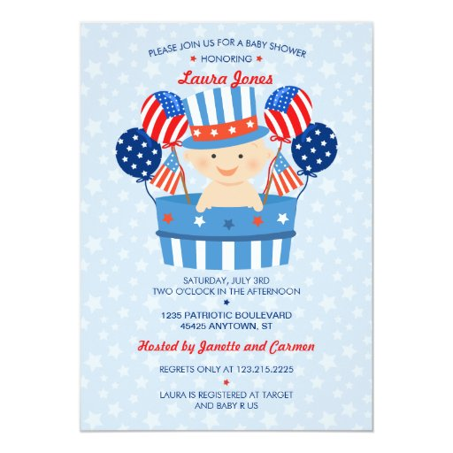 May The Fourth Be With You Baby Shower: Cute 4th Of July Patriotic Baby Boy Baby Shower Card