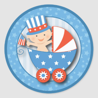 Cute 4th of July Patriotic Baby Boy Baby Shower Classic Round Sticker