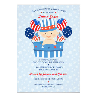 "Cute 4th of July Patriotic Baby Boy Baby Shower 5"" X 7"" Invitation Card"