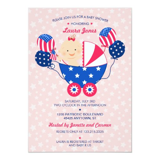 May The Fourth Be With You Baby Shower: Cute 4th Of July Patriotic Baby Girl Baby Shower Card