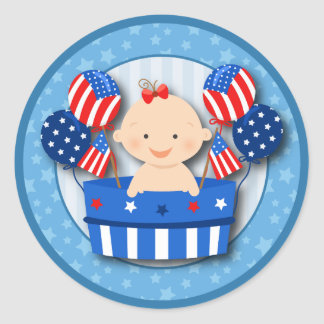 Cute 4th of July Patriotic Baby Girl Baby Shower Classic Round Sticker