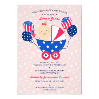 "Cute 4th of July Patriotic Baby Girl Baby Shower 5"" X 7"" Invitation Card"