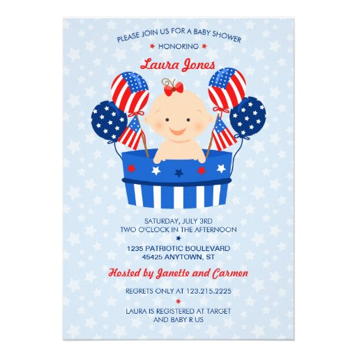 May The Fourth Be With You Baby Shower: Cute 4th Of July Patriotic Baby Girl Baby Shower Custom