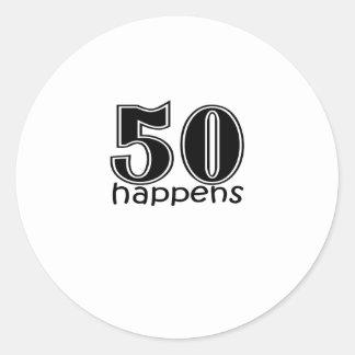 "Cute, ""50 happens"" 50th Birthday design Classic Round Sticker"