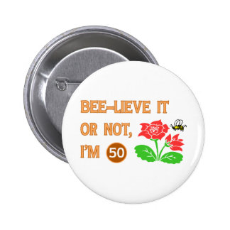 Cute 50th Birthday Gift Idea Buttons