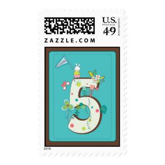 cute 5 birthday illustration postage stamp