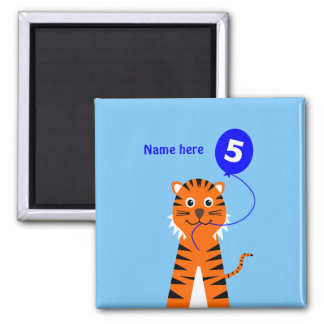 Cute 5th birthday tiger add name blue magnet