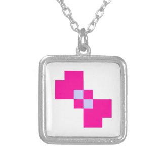Cute 8 Bit Pixel Bow Square Pendant Necklace