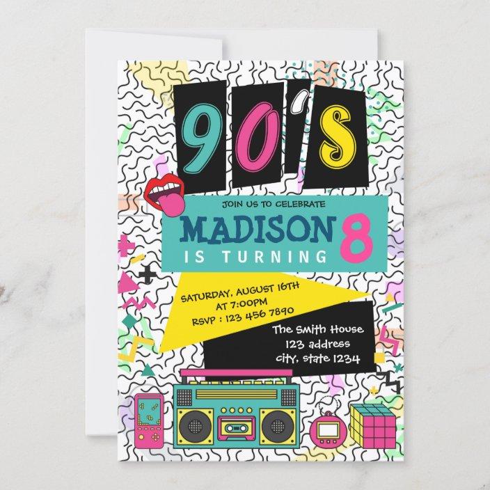 cute 90s theme party birthday invitation zazzle com